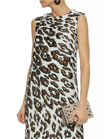 OSCAR DE LA RENTA  Fall 2019 Sleeveless Animal Print Jacquard Shift Dress 14 BRAND NEW