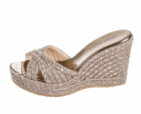 JIMMY CHOO 38.5 Pandora Gray Metallic Striped Slides Wedges Sandals 8 NEW