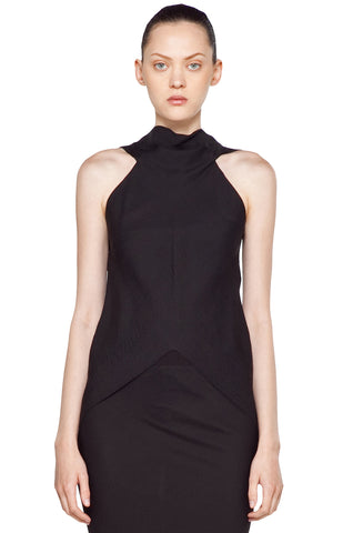 RICK OWENS Sleeveless Black Open Back Asymmetric Crinkled Silk Top S