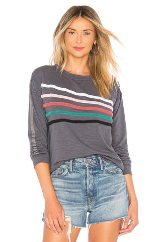 SUNDRY Gray Chenille Stripes Crew Neck Pullover Sweater Sweatshirt NWT