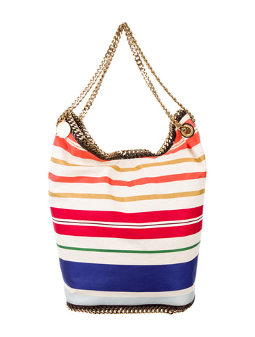 STELLA MCCARTNEY Striped Cotton Canvas Falabella Bucket Bag