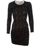 ALC Black Lace Dress Long Sleeve Ruched Side Sheath XS