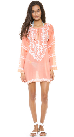MELISSA ODABASH Embroidered Peach White Laura Tunic Swimsuit Cover Up Top S NEW