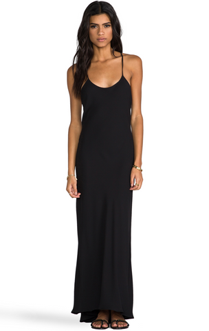 NAVEN Black Spaghetti Strap Scoop Neck Polyester Maxi Dress 4 New with Tags