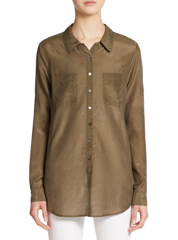 CALYPSO ST. BARTH Kesari Khaki Green Cotton Silk Button Down Shirt L NEW