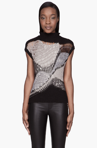 RICK OWENS Grey Colorblocked Psyco Lupetto Top Open-Knit Sweater M