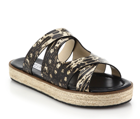 JIMMY CHOO 37.5 Nile Snakeskin Leather Espadrille Slide Sandals 7 NEW