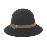 MAGID HATS Felt Cloche Downturn Brim Hats in Black and Camel