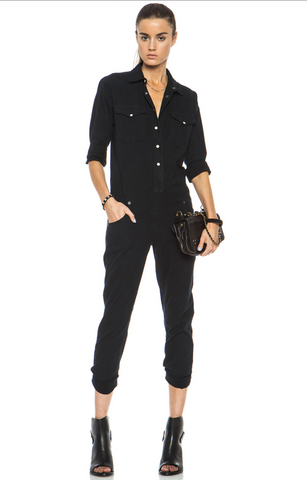 R13 Black Denim Cowboy Jumpsuit M BRAND NEW