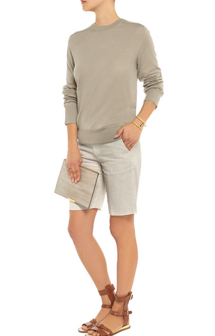 TOTEME Women's Shorts Bodrum Taupe Gray Linen Bermuda Walking S NEW