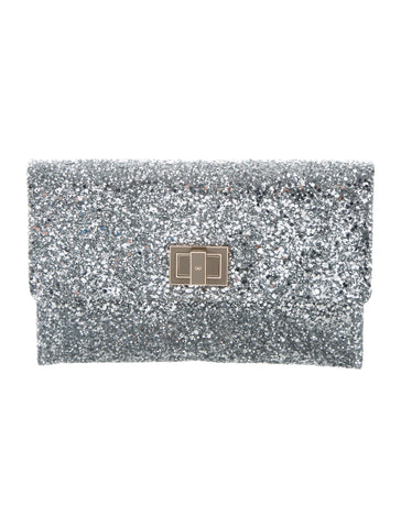 ANYA HINDMARCH Valorie Silver Glitter Leather Flap Clutch Bag NEW IN BOX