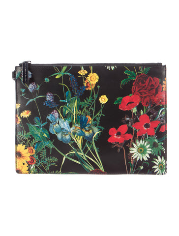 ALICE + OLIVIA Midnight Meadow Black Floral Print Leather Clutch Wristlet BRAND