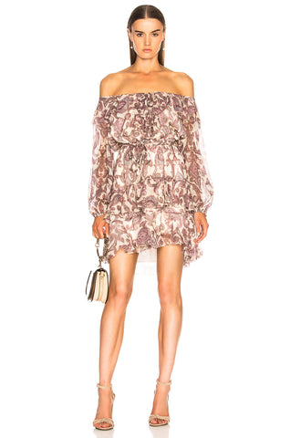 ZIMMERMANN Breeze Off Shoulder Pink Paisley Print Silk Mini Dress 1 NWT $795