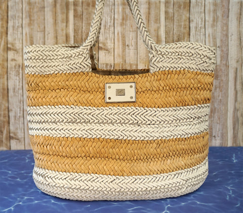 ANYA HINDMARCH Halen Basket Weave White Leather and Straw Beach Tote Bag
