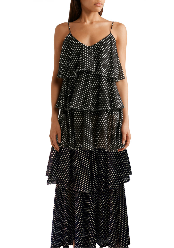 LISA MARIE FERNANDEZ Imaan Black Polka Dot Cotton Voile Maxi Dress