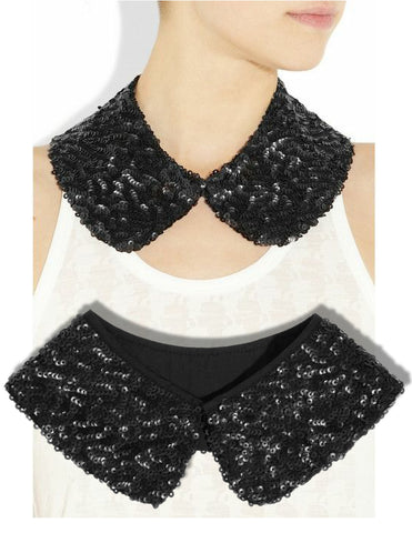 KARL LAGERFELD Sequined Black Poplin collar ONE SIZE