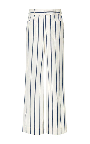 BROCK COLLECTION White Denim Stripe Talara Pants Trousers 8 US 4