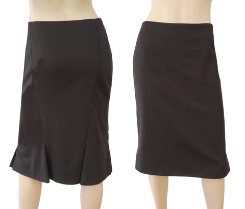 AKRIS Espresso Brown Wool Fluted Pencil Skirt 42 US 10 NEW
