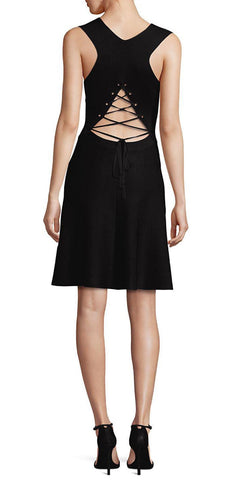 A.L.C. Black Este Lace-Back Neoprene Fit-n-Flare Sleeveless Dress