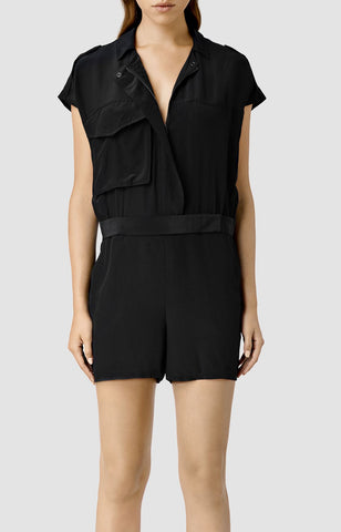 ALL SAINTS Black Silk Laurel Romper Jumpsuit UK 14 US 10