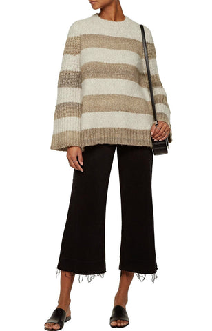 RAQUEL ALLEGRA Off White Mushroom Striped Bouclé Knit Wool Alpaca Sweater 2 M
