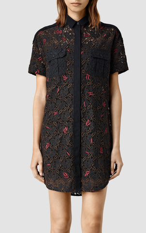 ALL SAINTS Leela Black Embroidered Shirt Dress 12 US 8 NEW WITH TAGS