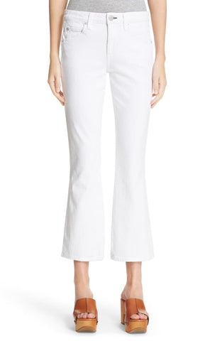 AMO Jane Kick Crop Flare Jeans in Sea Salt White 26