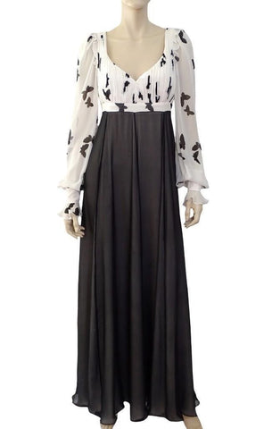 ANDREW GN Black White Silk Butterfly Print Evening Gown Dress FR42 US 10