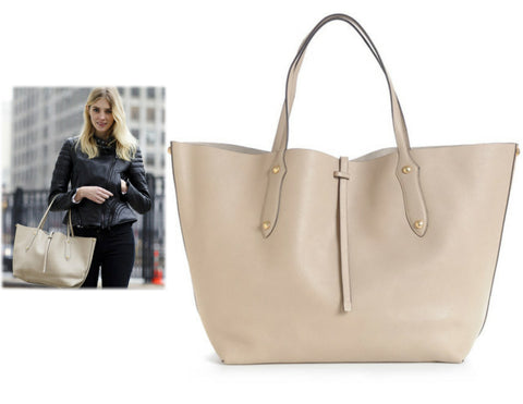 ANNABEL INGALL Textured Beige Taupe Leather Large Isabella Tote Bag