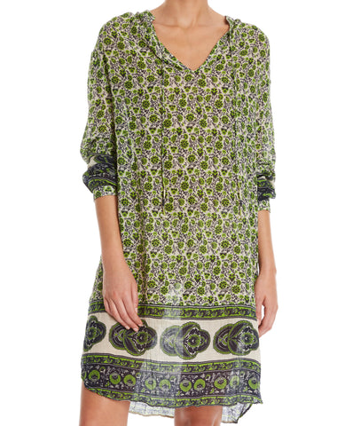 STAR MELA Anya Cotton Viole Green Ethnic Print Dress Tunic Cover Up S  NEW