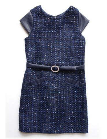 BISCOTTI Girls 8 Navy Blue Boucle Party Dress NEW with TAGS