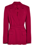 BARBARA CASASOLA Jacket Red Crepe Belted Wrap Blazer 44 US 8 NEW WITH TAGS $1545