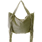 SORIAL Carli Khaki Green Suede Fringed Hobo Shoulder Tote NEW