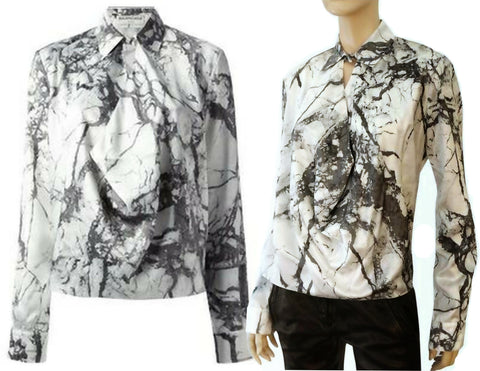 BALENCIAGA Draped Marble-Print Blouse, IT 40 / US 4