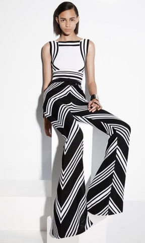 BALMAIN Black White Chevron Knit Flared Pants FR42 US 10