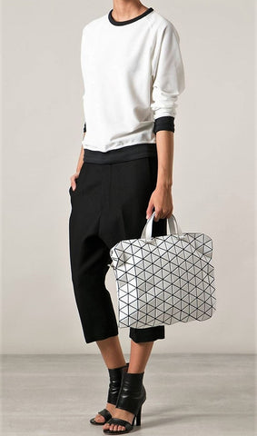 ISSEY MIYAKE Bao Bao Gloss White Large Tonneau Boston Tote Satchel Crossbody Bag