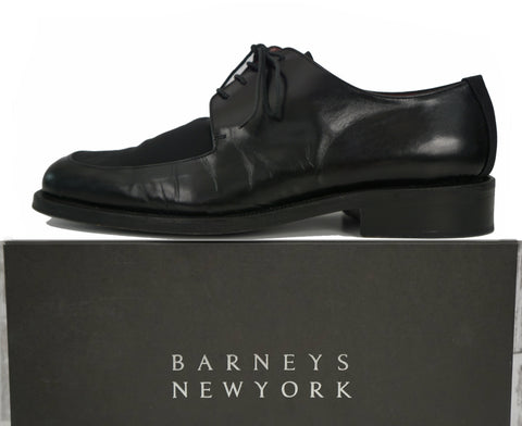 BARNEYS NEW YORK Black Leather Crepe Inlay Oxford Evening Dress Shoes 12M