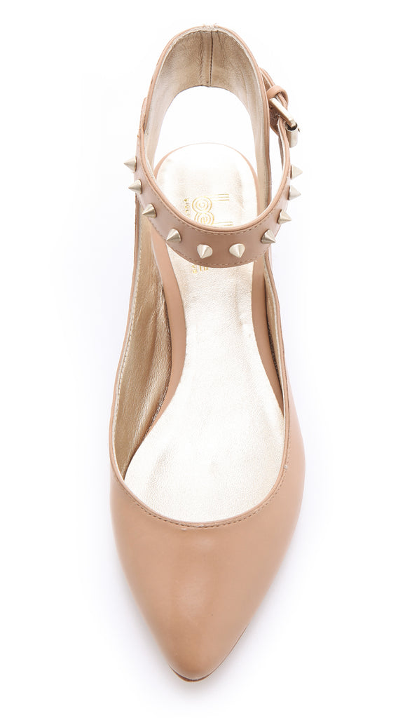 BELLE 8.5 Sigerson Morrison Nude Beige Studded Point Toe Verita Ankle Wrap Flats