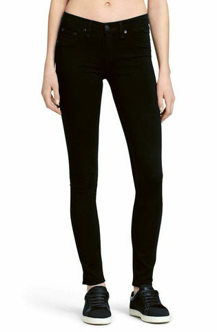 RAG & BONE Biscay Mid Rise The Legging Jeans in Black Plush 26