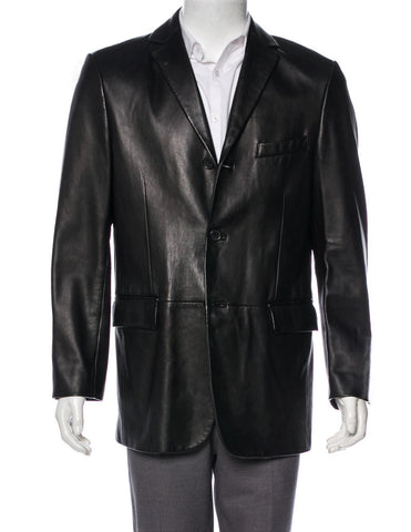 BOSS HUGO BOSS Men's Black Leather Jacket 3 Button Sport Coat Blazer 42R