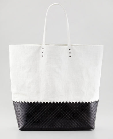 BOTTEGA VENETA Lg Coated White Linen Leather Tote Bag