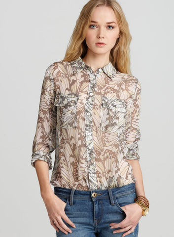 EQUIPMENT Gray Butterfly Printed Chiffon Slim Signature Blouse XS