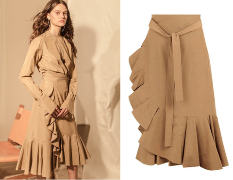 CELINE Phoebe Philo Khaki Tan Cotton Ruffle Wrap Skirt 34 US 2