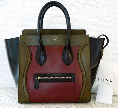 CELINE Tricolor Red Leather Mini Luggage Tote Handbag MINT AUTHENTIC