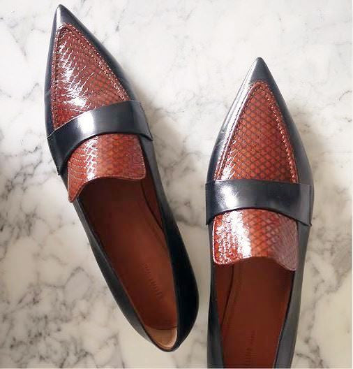 CELINE Point Toe Snake-Leather Loafers w/ Tags, 38.5 / 8