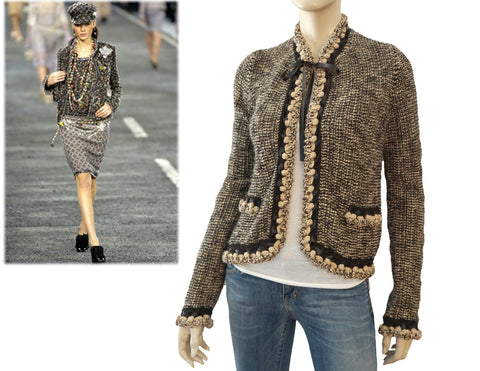 CHANEL 04A Cardigan Brown and Beige Leather Tie Neck Sweater 38 US 6