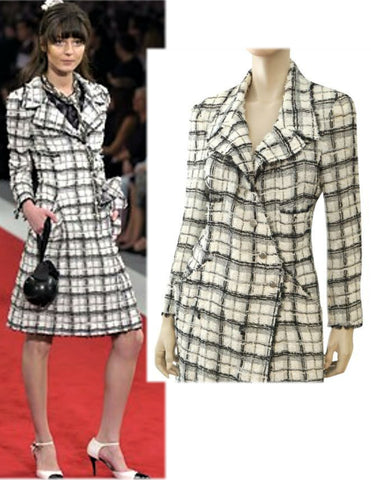 CHANEL 05P Black and White Double Breasted Tweed Coat 46 US 14