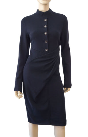 CHANEL Paris Bombay Long Sleeve Navy Blue Knit Midi Dress 42 US 10 BRAND NEW