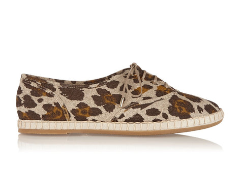 CHARLOTTE OLYMPIA Maria Leopard Print Canvas Lace-up Flats 39.5 US 9