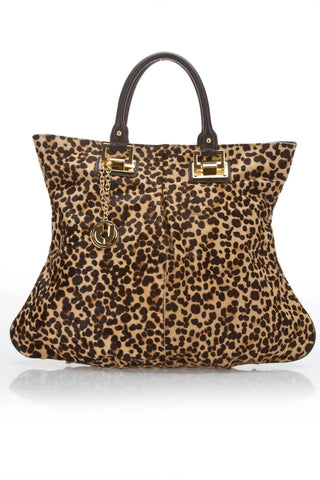CHARLES JOURDAN Tori Leopard Calf Hair Tote Handbag